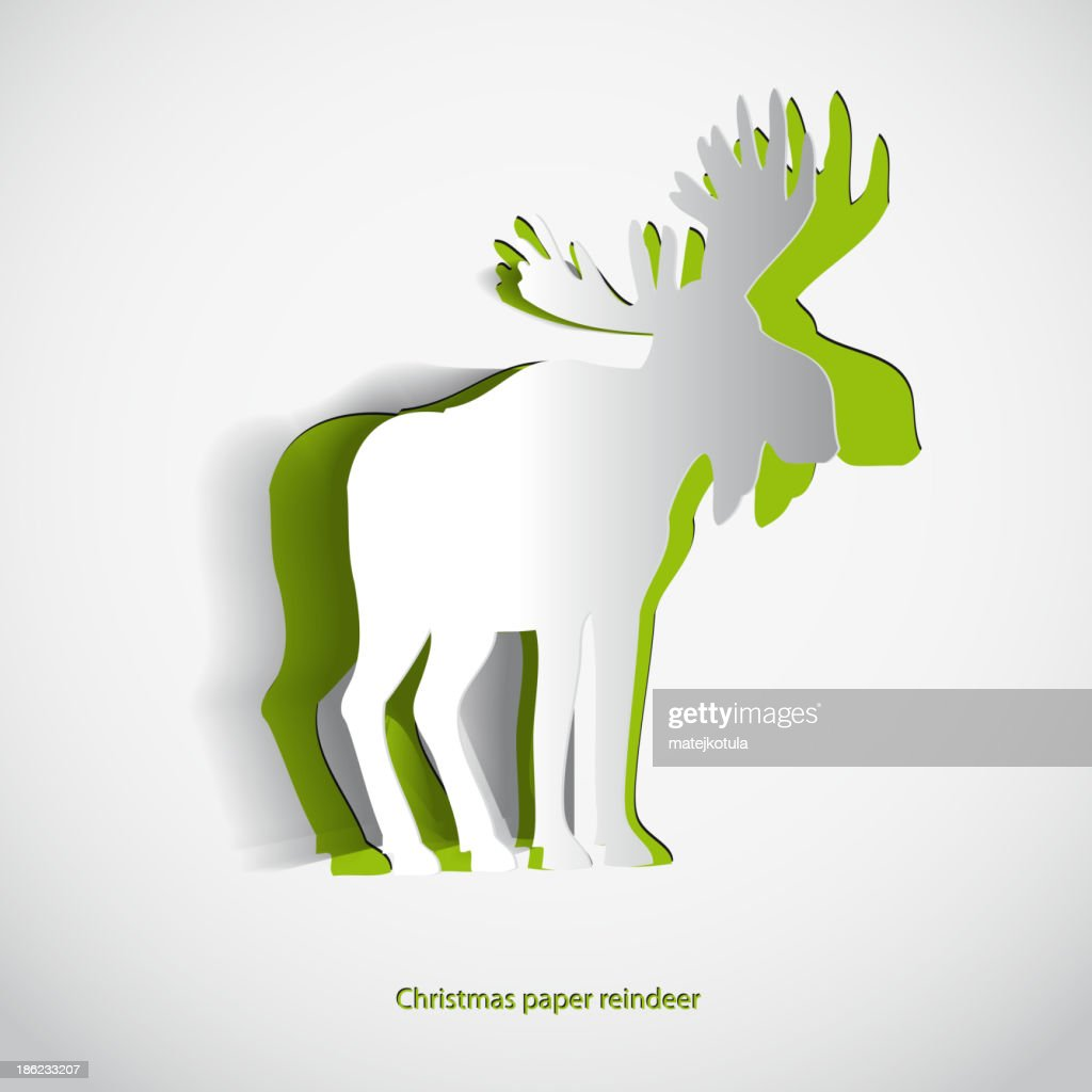 simple vector paper reindeer original new year card vector art