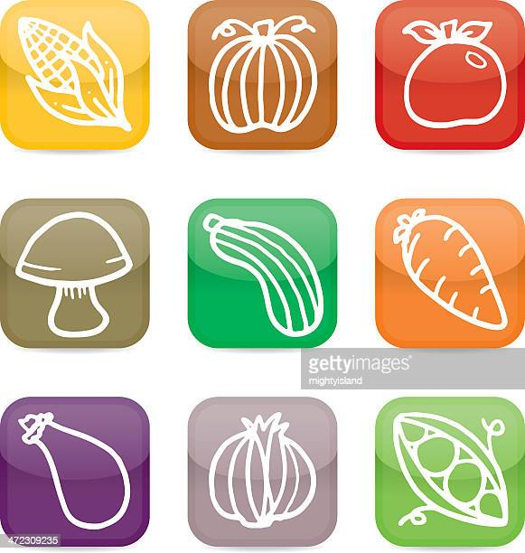 simple vegetable glossy app style icon set - marrom stock illustrations