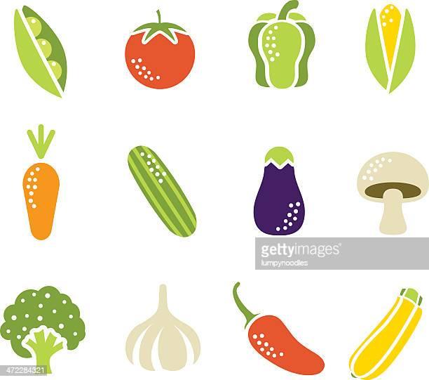 simple vegetable icons - cauliflower stock illustrations, clip art, cartoons, & icons