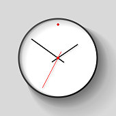 Simple wall Clock in realistic style, minimalistic timer on light background. Business watch with a red dot. Vector design element for you project