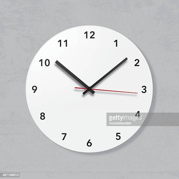 Simple wall clock on grunge wall