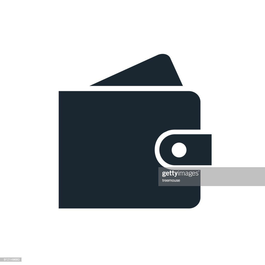 Simple wallet with card icon. Single color design element isolated on white. Business, finance, payment, saving, credit card concept.