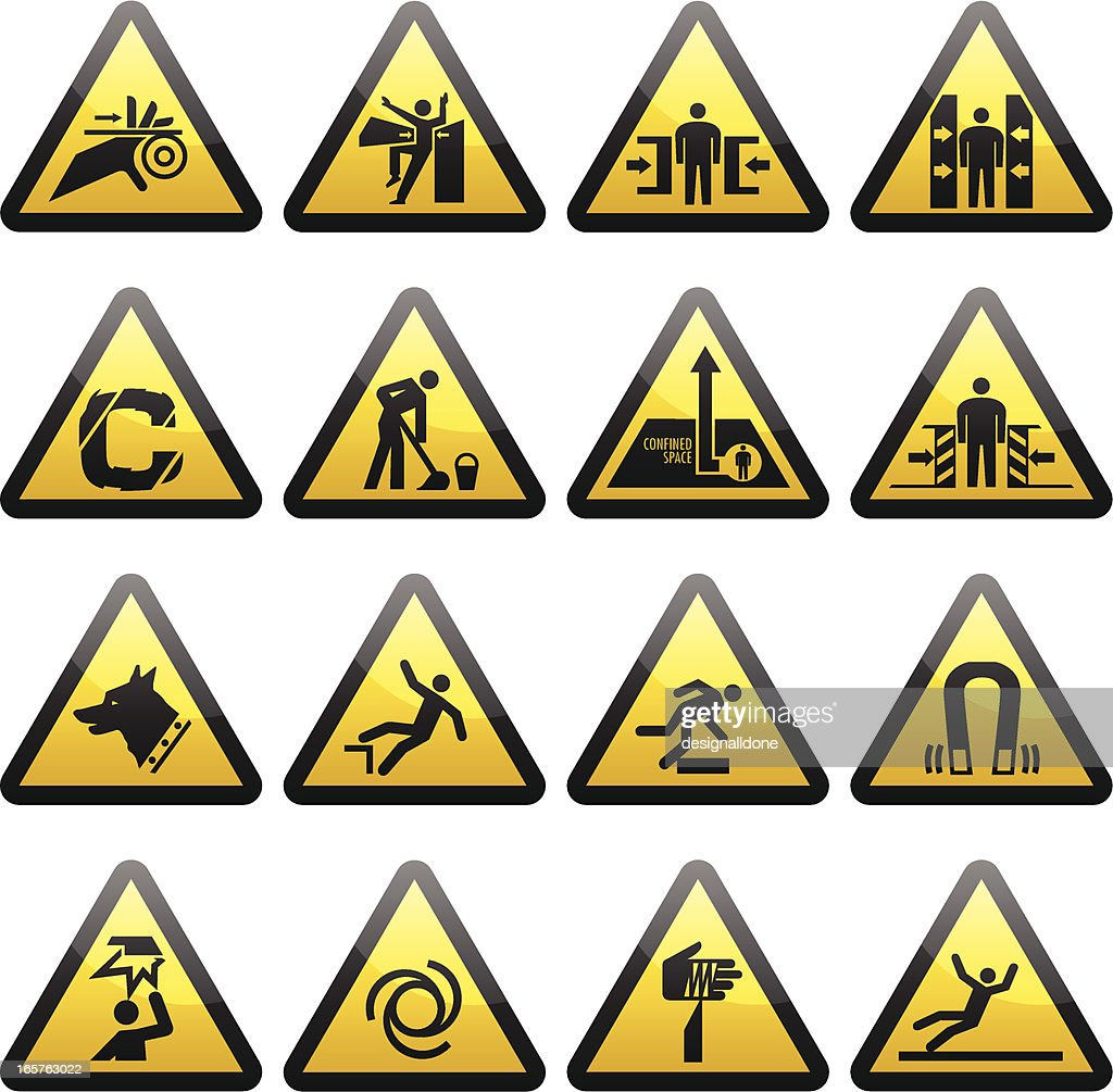 Simple Warning Hazard Signs : stock illustration
