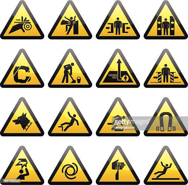 illustrazioni stock, clip art, cartoni animati e icone di tendenza di semplice segnali di pericolo avvertenza - schiacciato