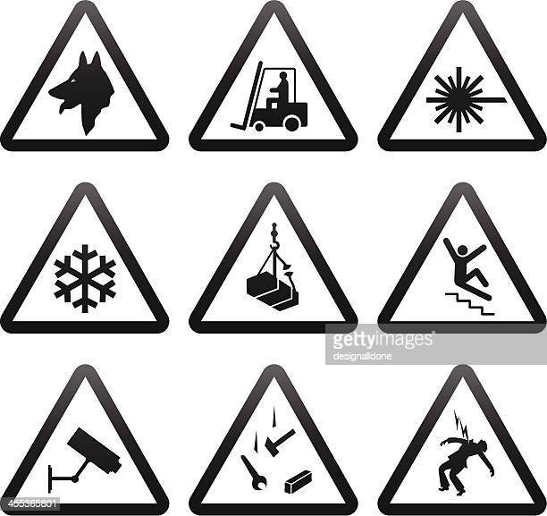 simple warning signs - occupational safety and health stock illustrations, clip art, cartoons, & icons