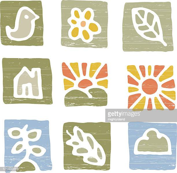 simple weather and nature icons - zea stock illustrations, clip art, cartoons, & icons