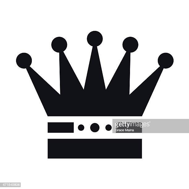 simple white royalty crown - vector - empress stock illustrations, clip art, cartoons, & icons