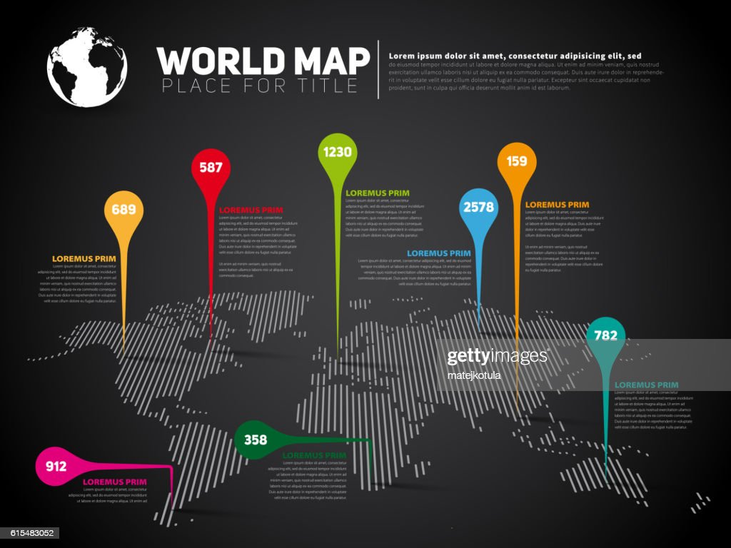 Simple World map infographic communication template