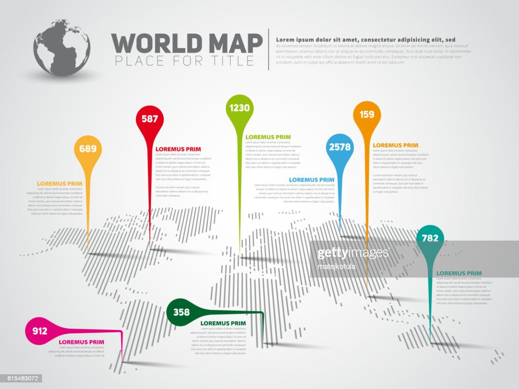 Simple World map infographic template with pointer marks