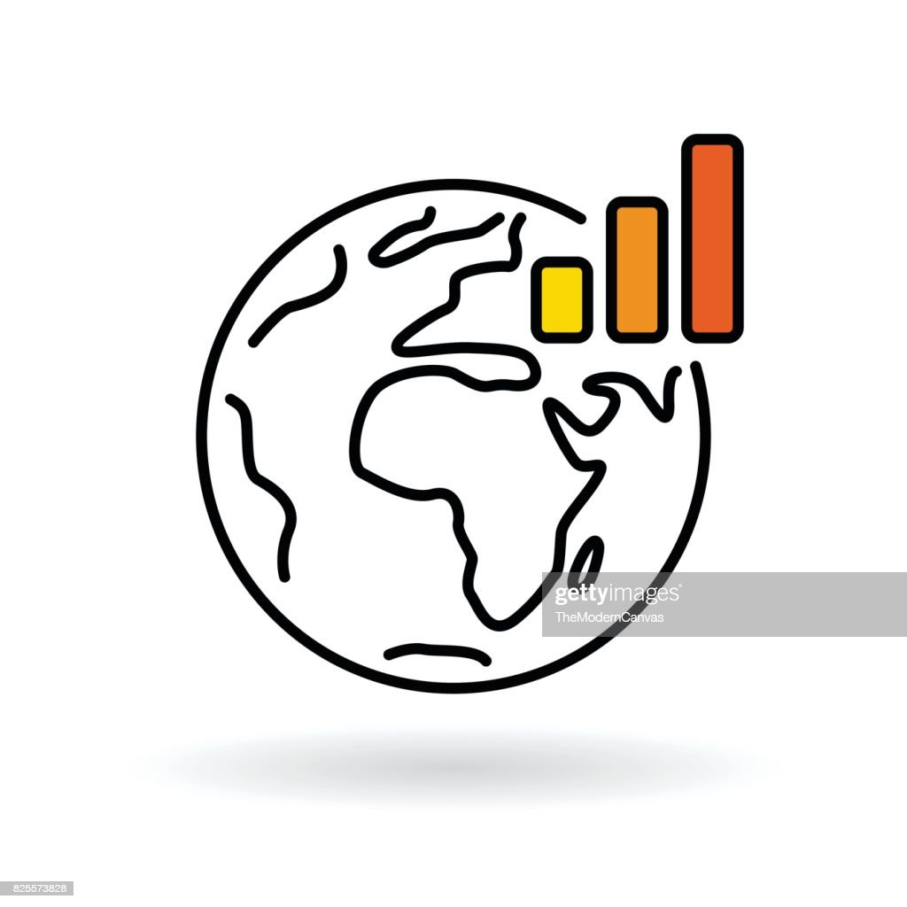 Simple world with global warming chart icon