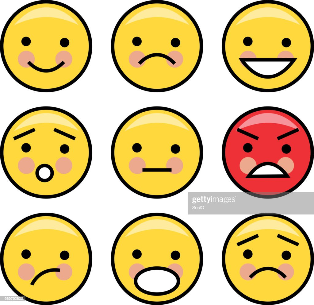 Simple yellow emoticons