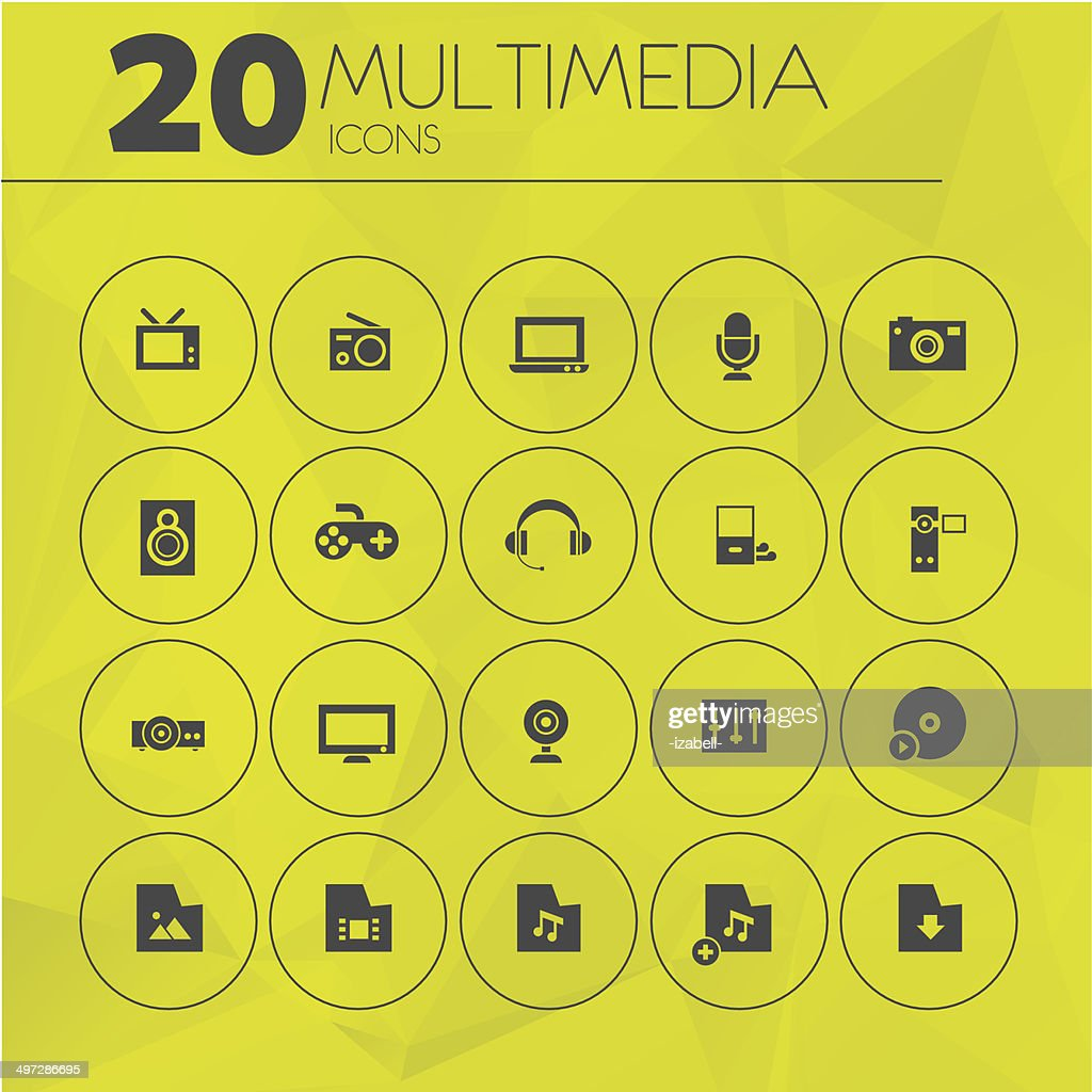 Simple Yellow Thin Multimedia Icons