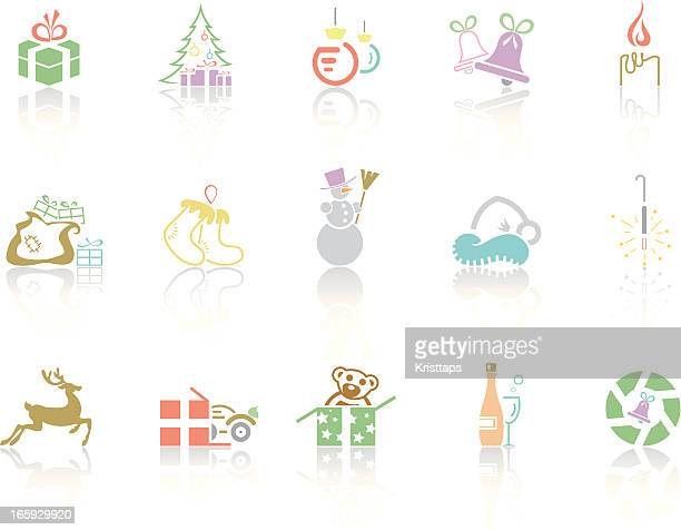 simplecolor – christmas - goodie bag stock illustrations, clip art, cartoons, & icons