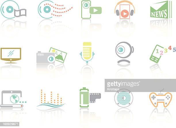 simplecolor – multimedia - webcam media apparaat stock illustrations