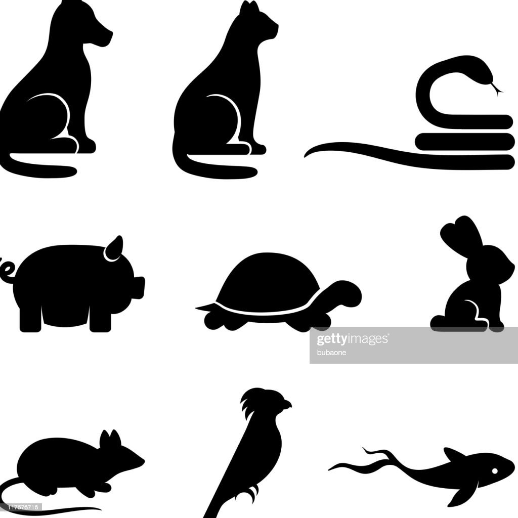 Simplified animal royalty-free vector arts black and white icon set