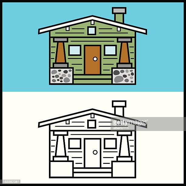 simplified bungalow house - bungalow stock illustrations, clip art, cartoons, & icons