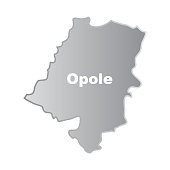 Simplified contours of the map of Opole Voivodeship in Poland