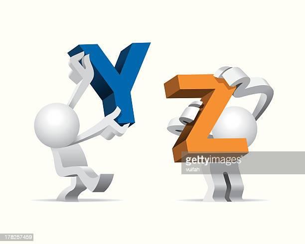 Simplified man Presenting Big Giant Alphabet Y & Z