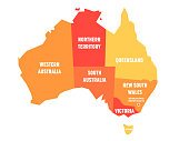 Simplified map of Australia divided into states and territories. Orange flat map with white labels. Vector illustration