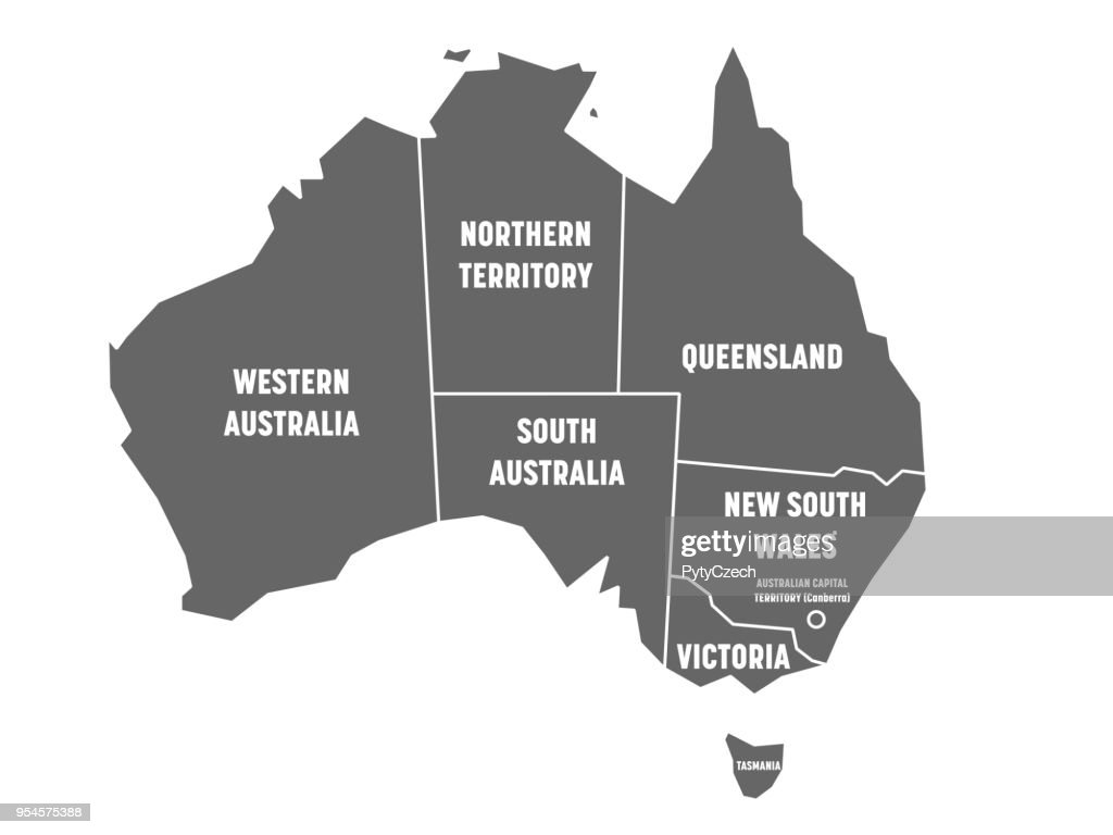 Simplified map of Australia divided into states and territories. Grey flat map with white borders and white labels. Vector illustration