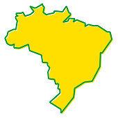 Simplified map of Brazil outline. Fill and stroke are national colours.