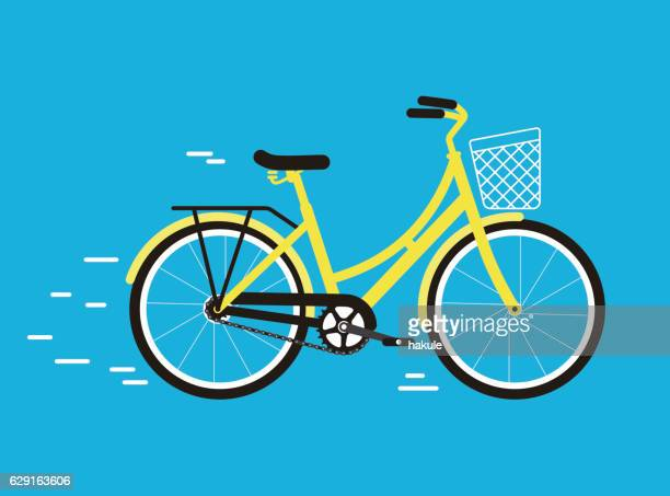 simplified vector city bike, illustration - bicycle stock illustrations
