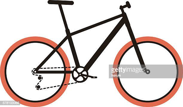 simplified vector mountain bike - gearshift stock illustrations, clip art, cartoons, & icons