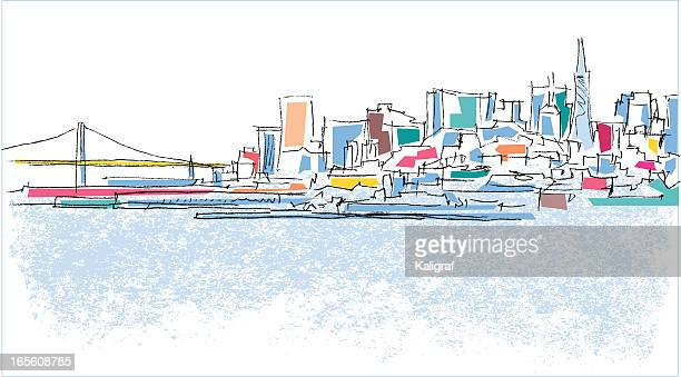 a simplistically colored outline of a city scape - san francisco california stock illustrations