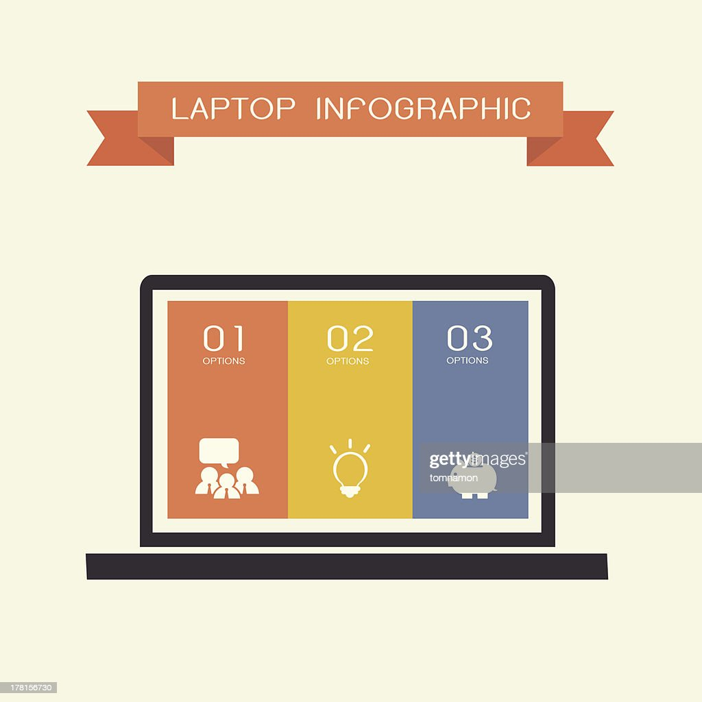 simply infographic template with laptop compute