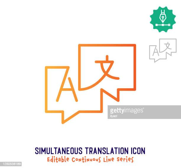 simultaneous translation continuous line editable icon - abc broadcasting company stock illustrations