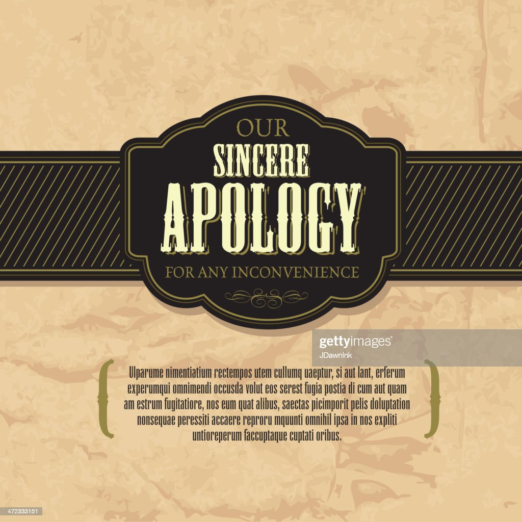 Sincere apology greeting card design template vector art getty images sincere apology greeting card design template vector art kristyandbryce Gallery