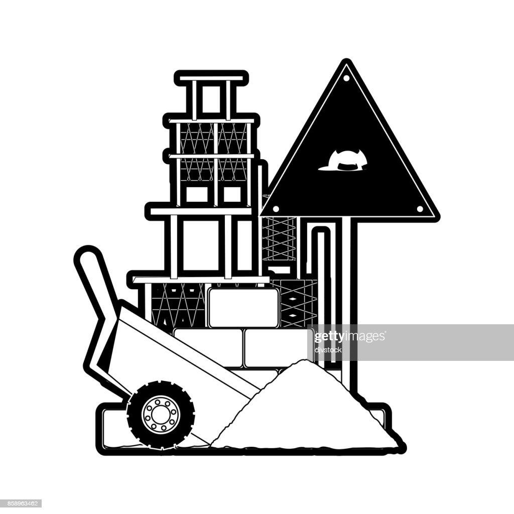 sing  warning  and  wheelbarrow vector illustrat