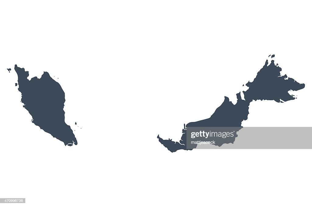 Singapore And Malaysia Country Map Vector Art Getty Images - Singapore map vector