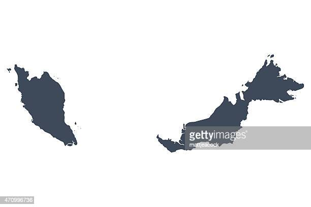 singapore and malaysia country map - malaysia stock illustrations