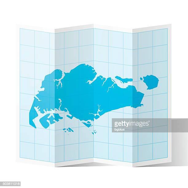 Singapore Map folded, isolated on white Background