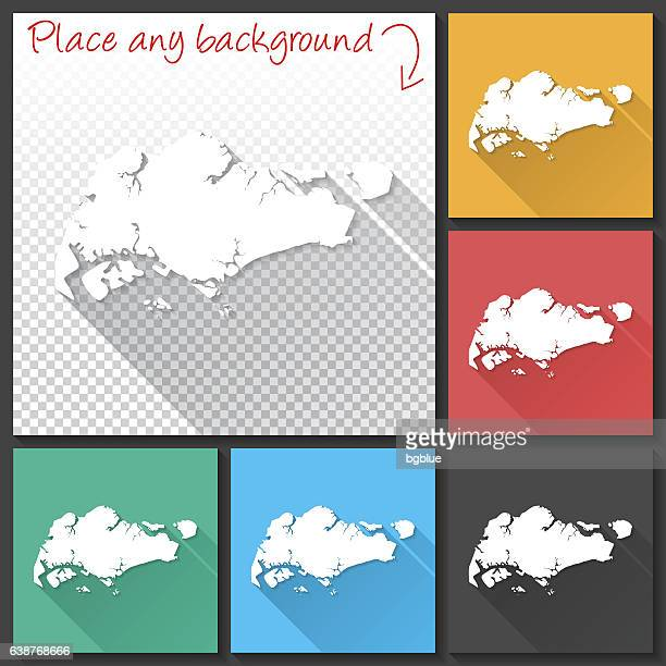 Singapore Map for design, Long Shadow, Flat Design