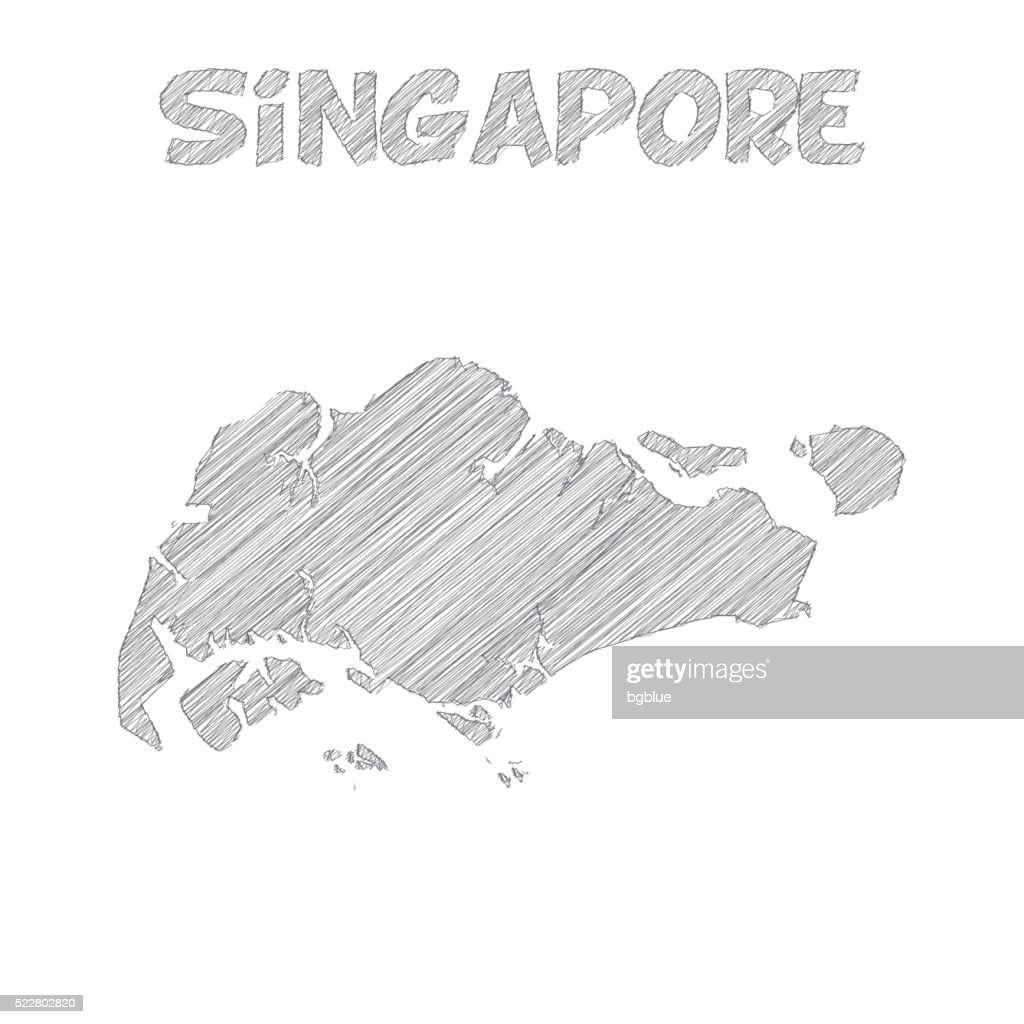 Singapore Map Hand Drawn On White Background Vector Art Getty Images