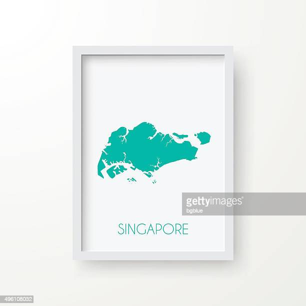 Singapore Map in Frame on White Background