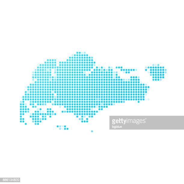Singapore map of blue dots on white background