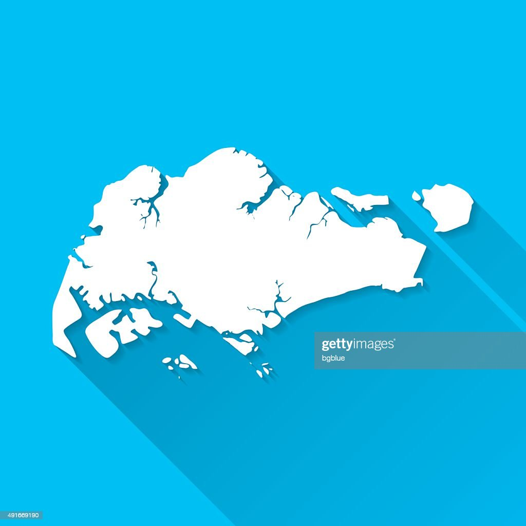 Singapore Map On Blue Background Long Shadow Flat Design Vector - Singapore map vector