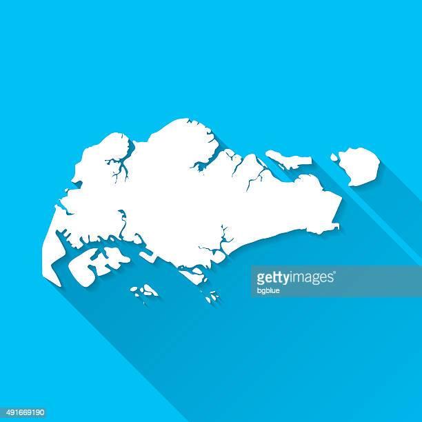 Singapore Map on Blue Background, Long Shadow, Flat Design