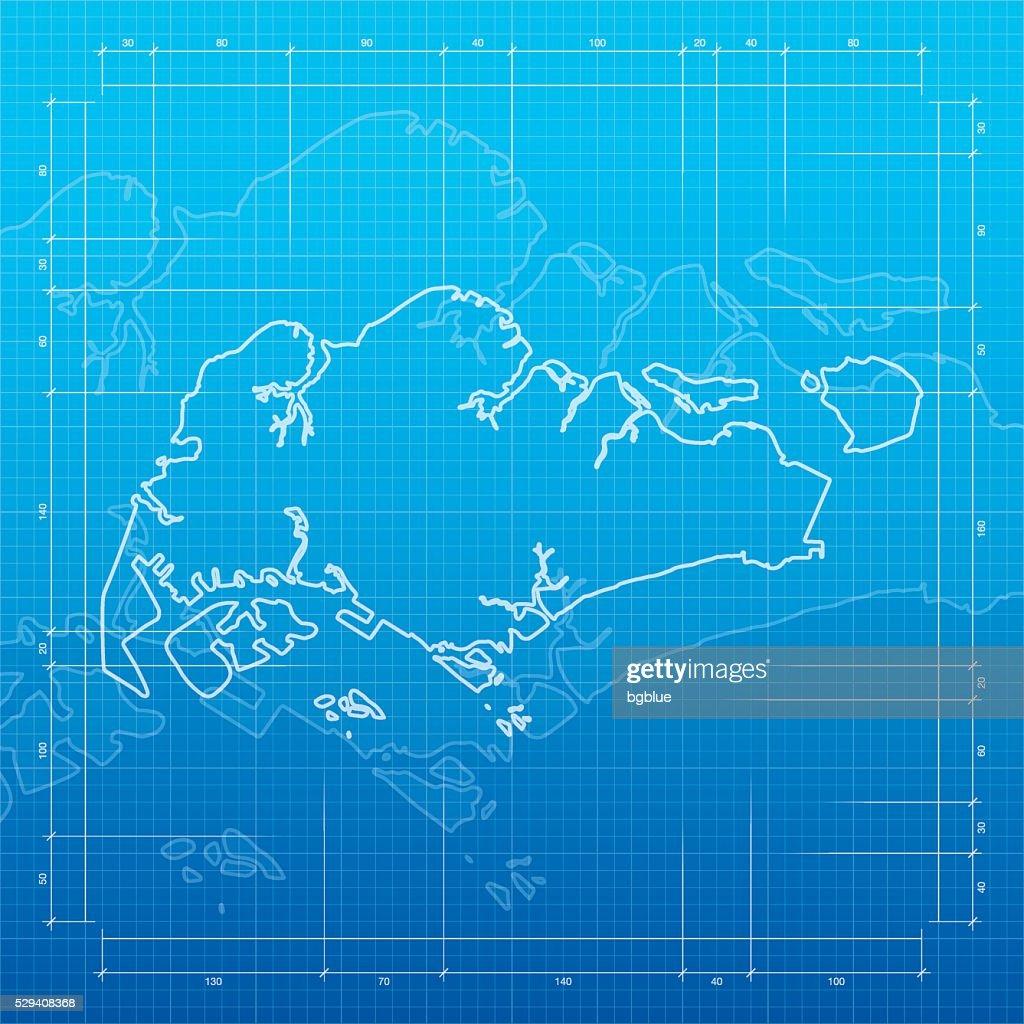 Singapore map on blueprint background vector art getty images singapore map on blueprint background vector art malvernweather Images