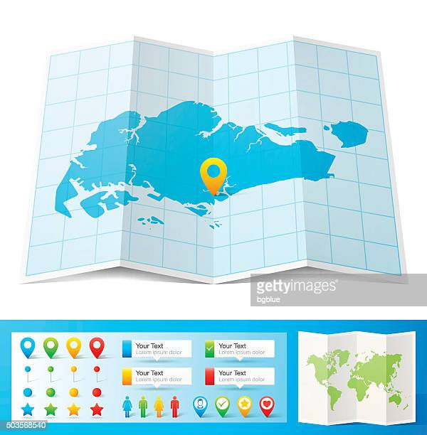 Singapore Map with location pins isolated on white Background
