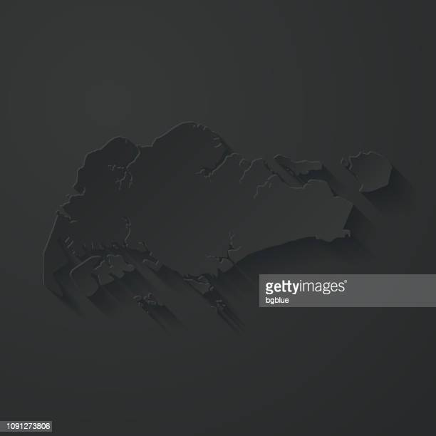 Singapore map with paper cut effect on black background