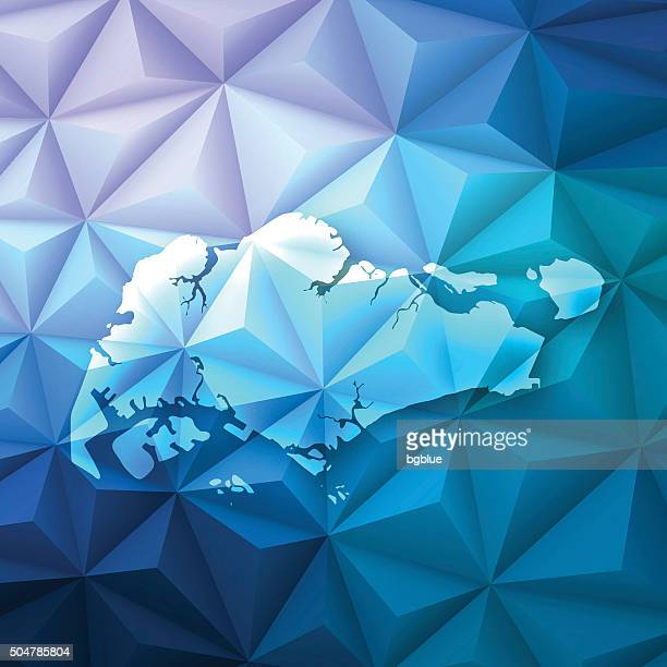 Singapore on Abstract Polygonal Background - Low Poly, Geometric
