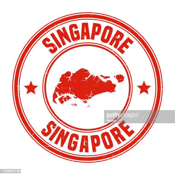 Singapore - Red grunge rubber stamp with name and map