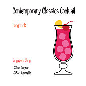 Singapore sling alcoholic cocktail vector illustration recipe isolated
