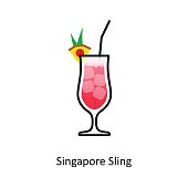 Singapore Sling cocktail icon in flat style