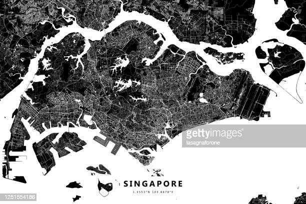 シンガポールベクターマップ - シンガポール国旗点のイラスト素材/クリップアート素材/マンガ素材/アイコン素材