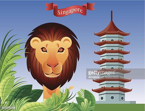 singapure ライオン - シンガポール国旗点のイラスト素材/クリップアート素材/マンガ素材/アイコン素材
